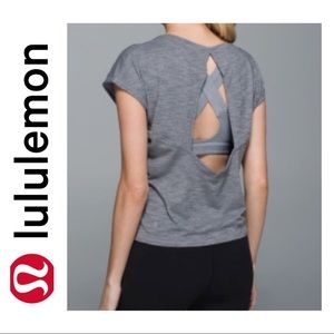Lululemon Grey Sweaty or Not Crop Tee